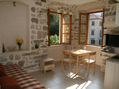 Photo for Character well equipped (left) studio apartment in historic Kotor centre