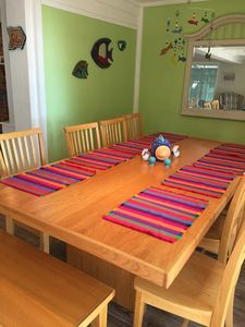 Linger over meals at the extra-large dining table