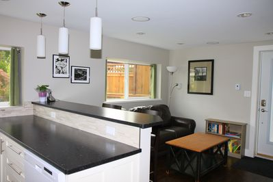 Kitchen and living area together make for a wonderful space to relax.
