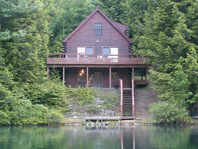 View of cabin from the lake before porch installed.