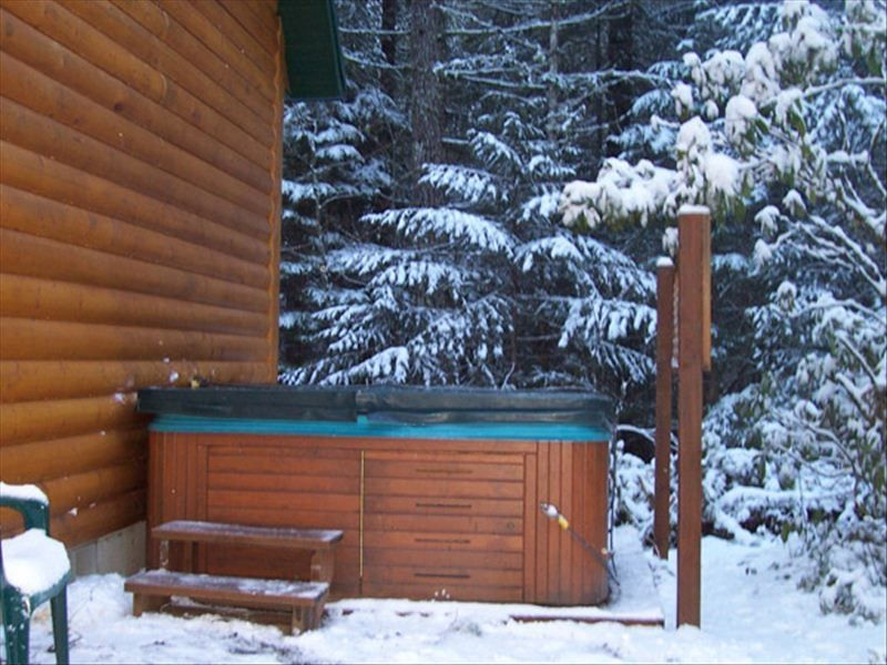 Lux mt hood log cabin with hot tub fireplace zigzag for Log cabin with hot tub one night stay