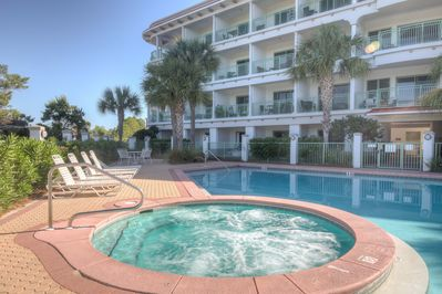 One of the very few buildings anywhere along 30A with a year-round jacuzzi!