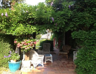 The patio offers welcome shade