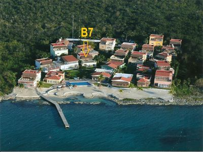 Casa B7 is just behind the garden & steps away from the pool, pier, sand & sea!!