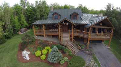 Photo for Moose Meadow Lodge & Treehouse - Adirondack style log cabin on 86 private acres