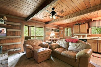 leather furniture with open floor plan