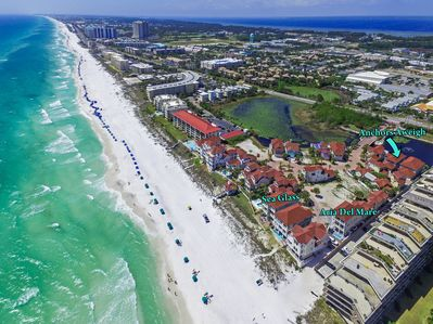 Aerial view of Shipwatch and the homes we rent within this beachside community