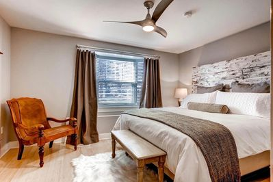 Bedroom has king size luxury mattress with organic sheets