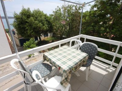 Photo for One bedroom apartment with terrace and sea view Nerezine, Lošinj (A-3479-a)