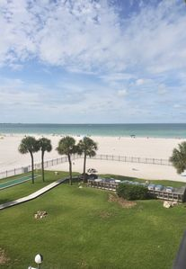 Panoramic view from my balcony showing private sundeck and beach area and grills