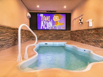 Photo for Cinematic Splash: Smoky Mtn POOL cabin with THEATER ROOM!