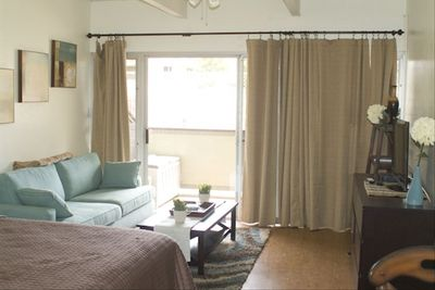 Open layout studio condo. Fresh, clean, modern, and comfortable.