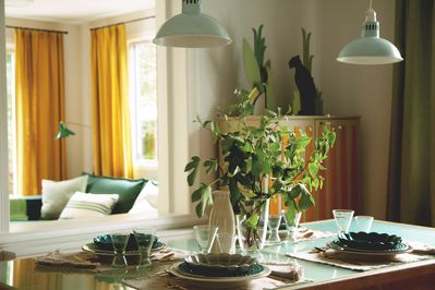 Natural sunlight fills the home