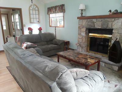 Cozy living room with plush microfiber seating