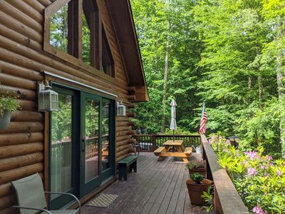 Photo for JUST ADDED * Peaceful log cabin * Firepit * NEW MATTRESSES * Cool mountain breezes