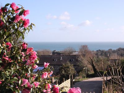 Photo for Beautiful Lodge overlooking stunning Mounts Bay, private garden and parking.