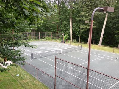 Lighted Har-Tru (soft court) Tennis Court