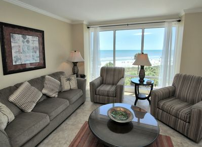 Living Room with Ocean Front Views at 1401 Villamare