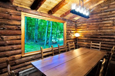 Dining area with a view of the stream