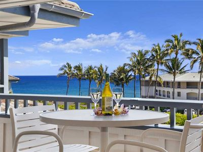 Photo for Poipu Sands Ocean View with Palm trees A/C in the Master Suite *Poipu Sands 325*