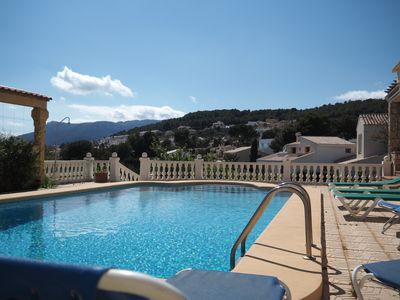 Photo for Family villa with large private, sea views, free wifi, equipped for children, a /