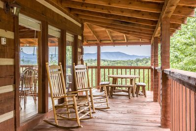 Stunning views from this peaceful deck make enjoying your morning coffee a treat