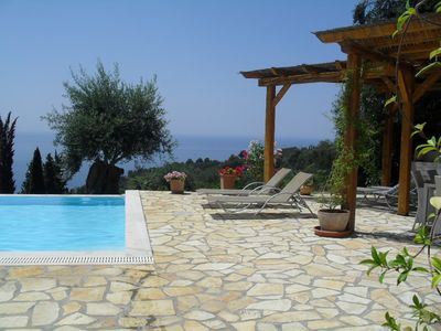 Photo for Beautiful 3 bedroom villa overlooking Ionian sea, with private pool.