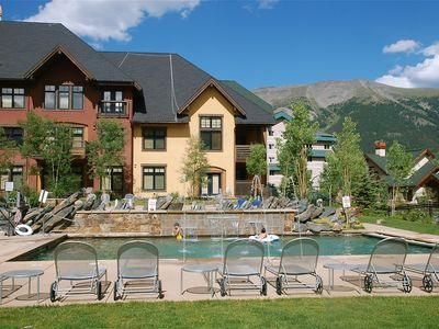 The Cirque's one-of-a-kind courtyard with pools, hot tub, firepit and grill.