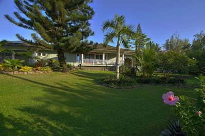 Front of house and lush front yard.