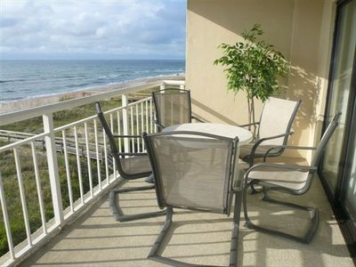 View from the Balcony.... Enjoy watching the dolphins, pelicans, surf and more.