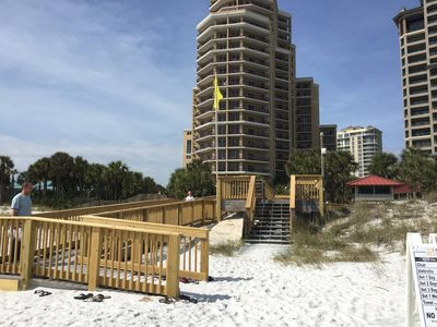 Westwinds boardwalk, ramp all the way to the beach.  Beach wheelchair available.