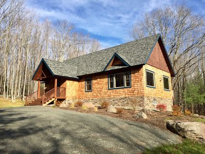 Photo for Custom Built Luxury Cabin on 2.5 Acres, 10 Mins to Windham & Hunter Mountains!