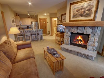 Photo for Beautiful 2 bed 2 bath ski vacation condo in River Run Village of Keystone Resort. Walk to the ski lift, gondola, shops and restaurants!  Amenities include on-site hot tubs, off-site pool access, garage parking, pool tables, and free shuttle service to any