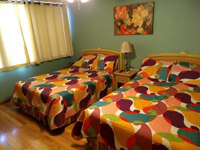 Two comfortable Full size beds. Additional blanket are provided.