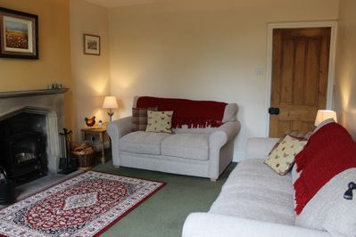Sitting Room with wood burner, 2 and 3 seat sofas