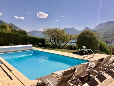 Photo for Talloires, Les Granges house with pool and lake view