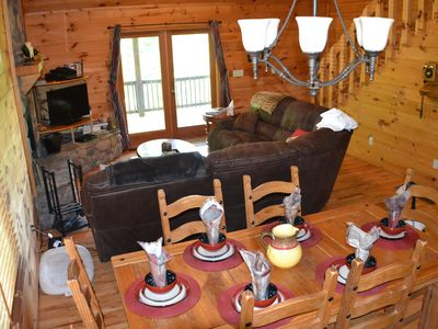 Photo for Mountain Views! Secluded 3 Bed, 3 Bath cabin, Game Room, Fire Pit, Pets OK