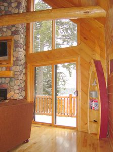 Photo for Log chalet executive lodge - wrap around deck lakeside & gazebo on 26 acres