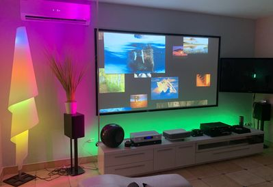 110 inch TV Projector, Sony PS3 Pro PlayStation, multi colored LED lighting