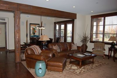 Living room/dining room, hot tub on deck, all rooms have views of golf course!