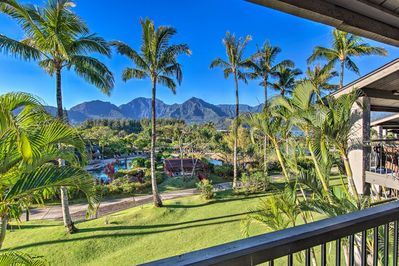 Immerse yourself in oceanfront bliss at this Princeville resort condo