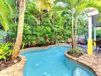 Photo for Bright and tropical home w/ lagoon-style private pool! Heart of Holmes Beach!