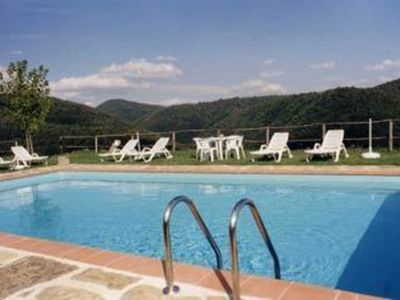 Photo for Cosy apartment with WIFI, pool, TV, patio, panoramic view, parking, close to Greve In Chianti