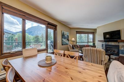 Make memories with your private dining area with sunset views of Rundle Range