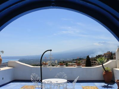 Photo for The Blue Sea and Etna Suite view with terrace - luxury near the center Taormina