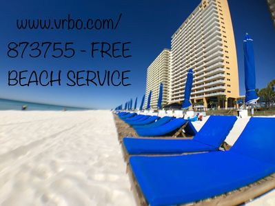 Free 2019 beach service for guests staying in our unit - a $35 per day value !
