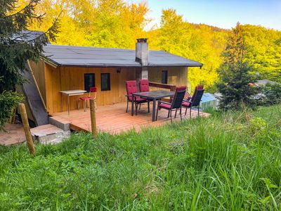 Photo for Bungalow in a quiet forest location directly on the trail