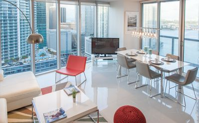 Photo for CORNER, OCEAN & RIVER VIEWS. W MIAMI RESIDENCES. FREE: POOL, SPA, GYM, WI-FI