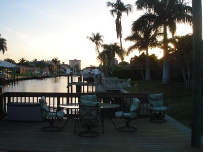 Enjoy your beverage while watching the sun set! Dolphins and Manatees spotted.