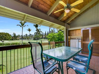 Photo for Sunny Palms+Greens Vista! WiFi, Laundry, TV, Kitchen Ease, Lanai w/Wet Bar Kanaloa 1103